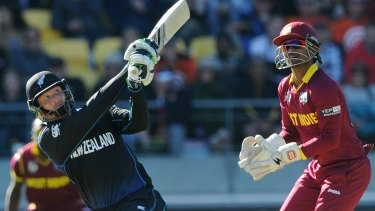 New Zealand's Martin Guptill on his way to a record-breaking double century in Wellington.