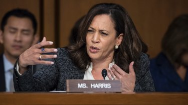 Democratic senator Kamala Harris questions former FBI director James Comey about a series of conversations with President Donald Trump.