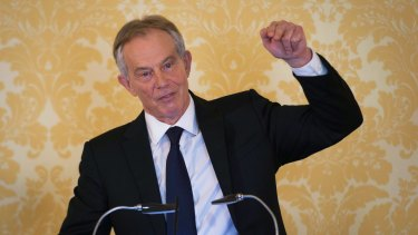 Former British prime minister Tony Blair in his two-hour press conference responding to the Chilcot report.