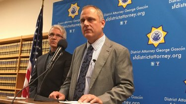 San Francisco District Attorney George Gascon, left, and elections director John Arntz, discuss election security in San Francisco.