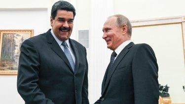Venezuela's President Nicolas Maduro, left, and Russian President Vladimir Putin met at the Kremlin in Moscow.