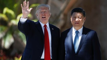 US President Donald Trump and Chinese President Xi Jinping at Mar-a-Lago.