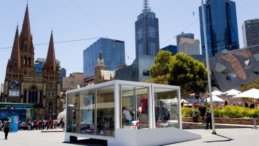 Xero's pop-up retail space in Federation Square, Melbourne. Its first tenant is fashion accessories and homewares retailer Squeak.