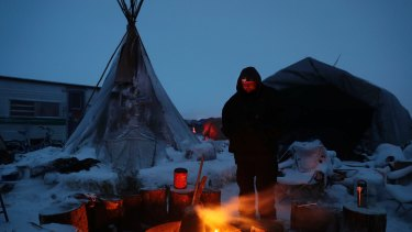 File image from the Standing Rock camp in December.