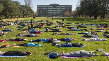 Canberrans participate in an outdoor yoga class to mark the official International Day of Yoga.