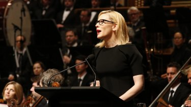 Cate Blanchett during her celebrated address to Gough Whitlam's state memorial service in November.