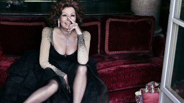 Plunging through life: Screen icon Sophia Loren.