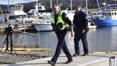 Police at Triabunna on Tasmania's east coast after a recreational scallop diver was killed by a shark.