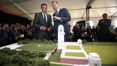 Former prime minister of Australia Tony Abbott at the unveiling of the Sir John Monash Centre Design at the Australian National Memorial, Villers-Bretonneux.