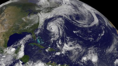 Four storms: Hurricane Katia in the western Atlantic between Bermuda and the US East coast; tropical storm Lee's remnants affecting the north-eastern US, tropical storm Maria in the central Atlantic; and newborn Nate in the Bay of Campeche, Gulf of Mexico.