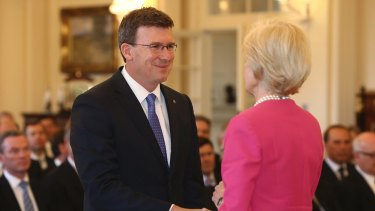 Alan Tudge being sworn in as parliamentary secretary to the prime minister in December.