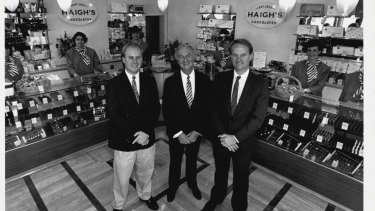 Simon Haigh (left), and Alister Haigh (right) stand alongside their father John Haigh (centre) in a photograph taken in 1993.