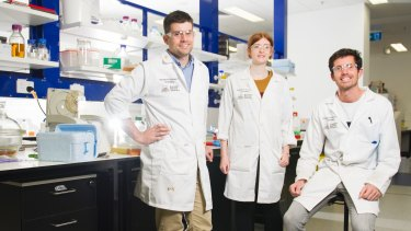 Team of researchers at ANU (l-r) Associate Professor Colin Jackson, Eleanor Campbell and Galen Correy just completed a groundbreaking study into how enzymes can be made.