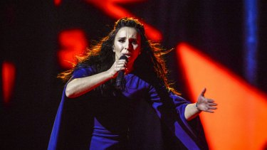 "Ukraine's Jamala performs her winning song ""1944""  during the 2016 Eurovision Song Contest final."