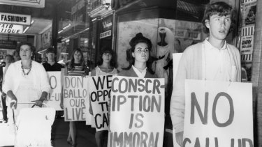 A demonstration against national service call-up.