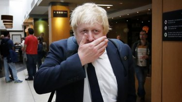 Boris Johnson at Edinburgh Airport on referendum day, after his daughter's graduation at St Andrews University in Scotland. The Leave cause he supported could now cause the breakup of the United Kingdom.