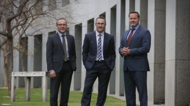 Senator Richard Di Natale, Melbourne MP Adam Bandt and Senator Peter Wish-Wilson.