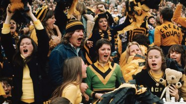 Going to the footy ain't what it used to be: Richmond fans at the MCG in 1974.