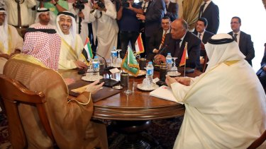 The foreign ministers of (from left) Saudi Arabia, the United Arab Emirates, Egypt and Bahrain meet in Cairo on Wednesday.