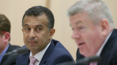 SBS managing director Michael Ebeid and Minister for Communications Mitch Fifield during the estimates hearing.