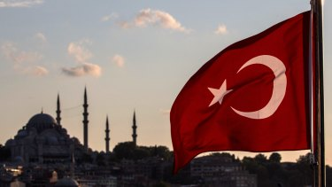 The Turkish flag over Istanbul.
