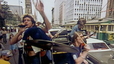 AC/DC in Swanston St  February, 23,  1976 .