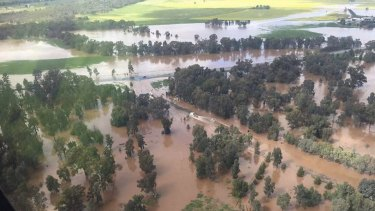 Aerial surveillance showed the devastation of high flood waters over Forbes and Parkes.