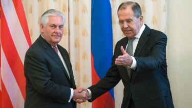 US Secretary of State Rex Tillerson and Russian Foreign Minister Sergey Lavrov, shake hands prior to their talks in Moscow.