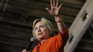 Targeted: Hillary Clinton speaks during a campaign rally in St Petersburg, Florida, earlier this month.