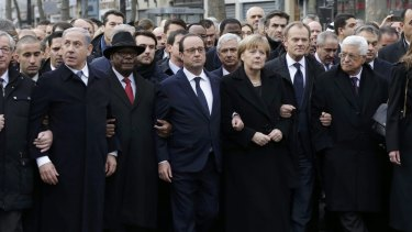 Heads of state from around the world take part in a solidarity march in Paris.