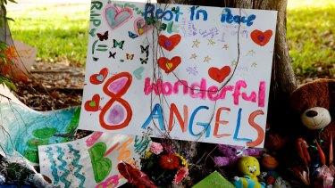 The makeshift memorial for eight children killed in Cairns.