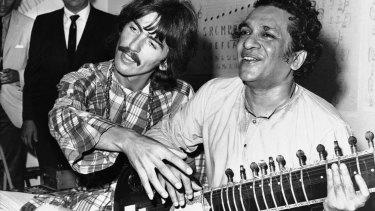 George Harrison with his musical mentor Ravi Shankar.