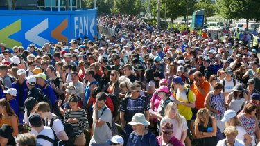The crowd entering the Australian Open on Monday morning.