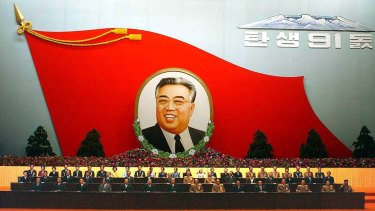 A huge flag-shaped painting featuring the late North Korean President Kim Il-sung is at an annual meeting to mark the late leader's birthday in North Korea.