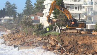 Large boulders were placed on the Collaroy beachfront in the wake of the June 2016 storms.