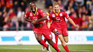 Back to his best: Adelaide's Bruce Djite.