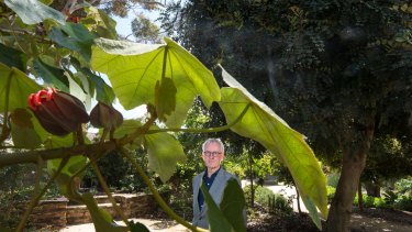 Australian Garden History Society member Trevor Pitkin in the system garden at Melbourne University.