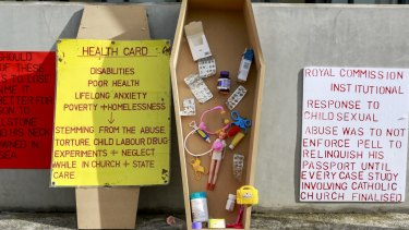A protest installation outside the Royal Commission into child abuse in Ballarat Court this past May.