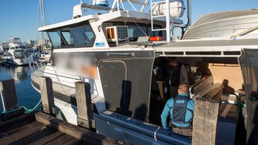 Police will allege in court a marine vessel, the Valkoista, arrived at the Port of Geraldton, WA, around 2am Thursday, local time.