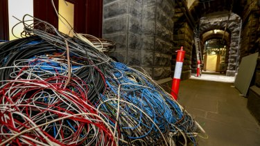 Old electrical wiring stripped out of Parliament House includes cabling from the 1890s.