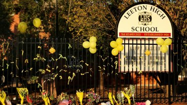 The fence at Leeton High School was transformed into a makeshift memorial for Stephanie Scott in the days after her death.