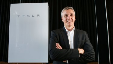Solution? Tesla vice-president Lyndon Rive with the Powerwall 2.