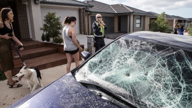 Damage in the wake of the party could be seen across the suburban street and surrounds.