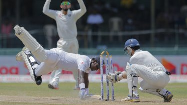 Sri Lanka's captain Angelo Mathews narrowly survives being run out. against India in September.