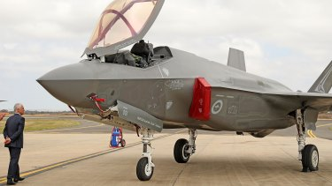 Open for inspection: Prime Minister of Australia Malcolm Turnbull gets a closer look at a Joint Strike Fighter F-35 at the Avalon Airshow.