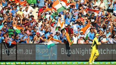 Loud and proud: a large contingent of Indian fans were in attendance at the MCG.