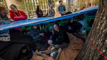 Yasmine Jensen-Solyom inside the camp set up by homeless people in the City Square.