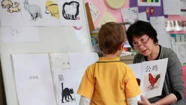 Chinese teacher My Hoa Lam at the bilingual class of the Abbotsford Primary School, Melbourne, in 2011.