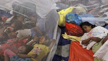 Migrants shelter in Kuala Langsa in in Indonesia on Saturday.