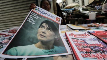 Newspapers for sale in Yangon on Monday.